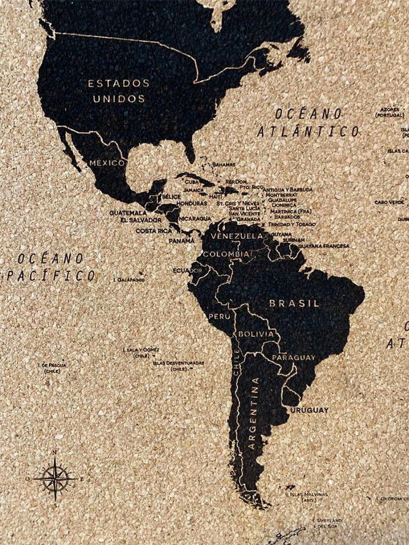 Mapamundi Rectangular Corcho 3