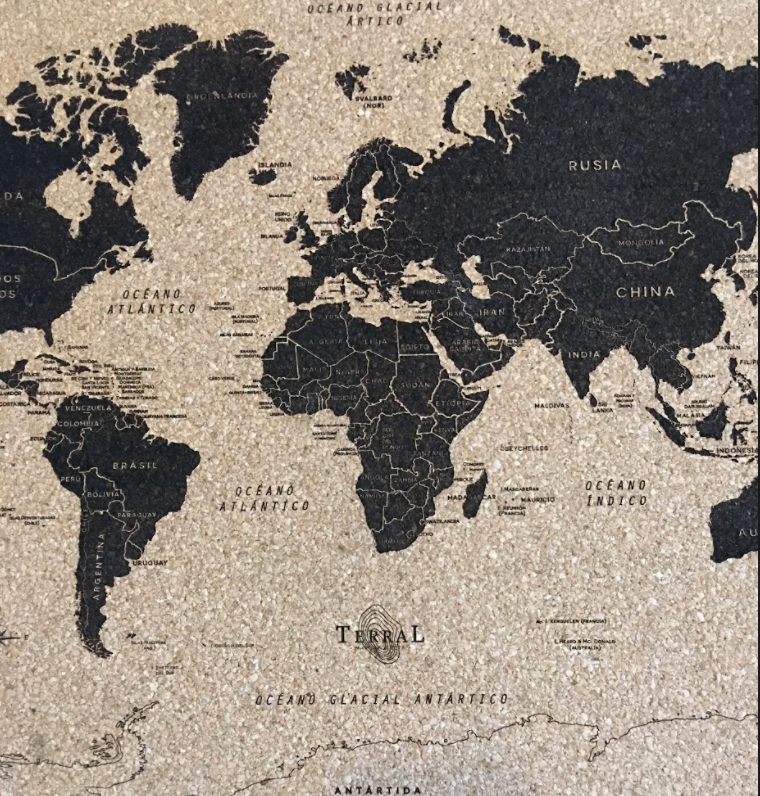 Mapamundi Rectangular Corcho 2